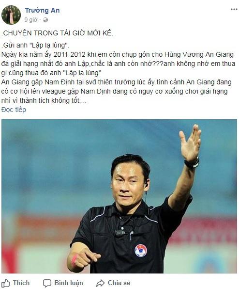 Cựu thủ môn An Giang tố trọng tài bẻ còi trận Long An lật lọng - Ảnh 1.