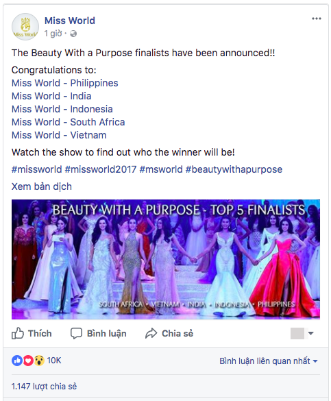 Thêm tin vui từ Miss World 2017: Đại diện Việt Nam - Đỗ Mỹ Linh xuất sắc lọt Top 5 Hoa hậu Nhân ái - Ảnh 1.