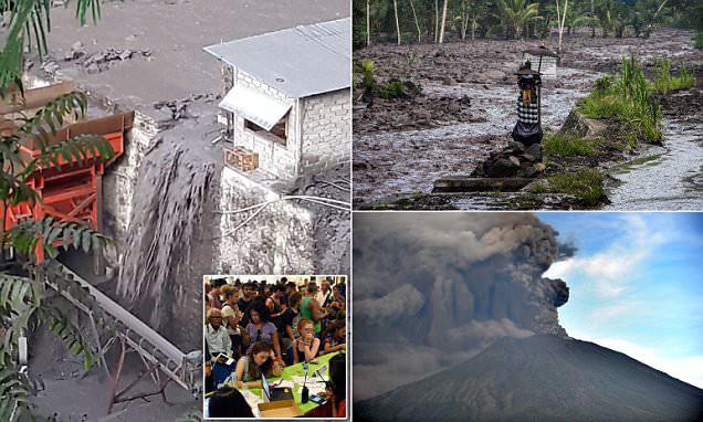 Xuất hiện dòng sông đen ngòm sau khi núi lửa ở Bali nhả cột khói cao 4000m - Ảnh 1.