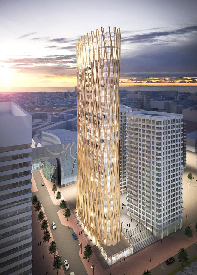 Không phải bê tông hay sắt thép, các tòa nhà chọc trời trong tương lai sẽ được xây dựng hoàn toàn từ... gỗ - Ảnh 1.