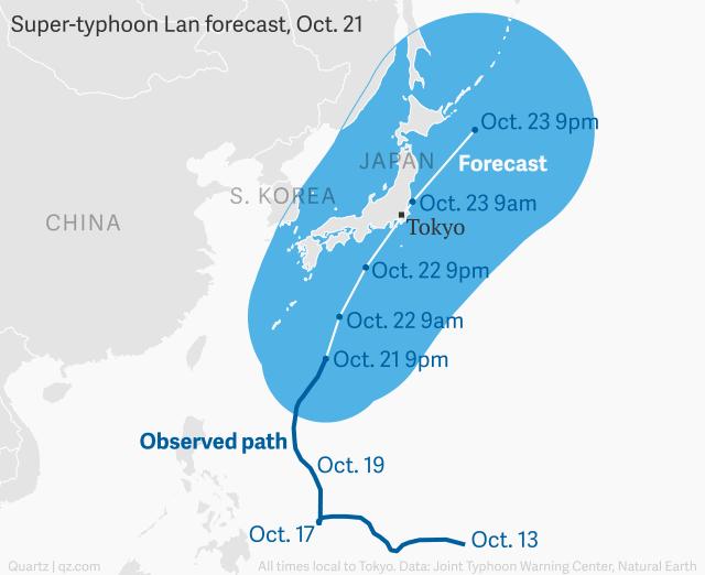 Siêu bão Lan bắt đầu gây mưa gió trên đường đổ bộ vào Nhật Bản - Ảnh 1.
