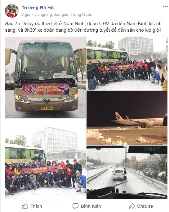 Nhật ký đi Trung Quốc cổ vũ U23 Việt Nam: Xe đang bò trên tuyết để đến sân kịp giờ - Ảnh 2.