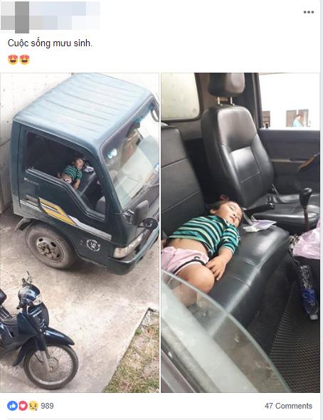 """Hình ảnh bé gái nằm ngủ ngon lành trên xe tải khi đi bốc hàng cùng bố gợi nhớ về """"tuổi thơ dữ dội"""" của nhiều người - Ảnh 1."""