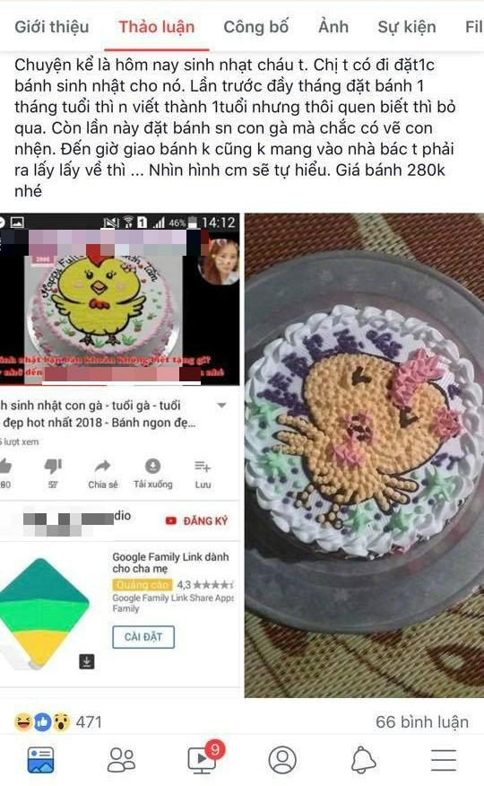 Đặt bánh sinh nhật hình gà con, mẹ trẻ tá hỏa khi nhận thành phẩm - Ảnh 1.