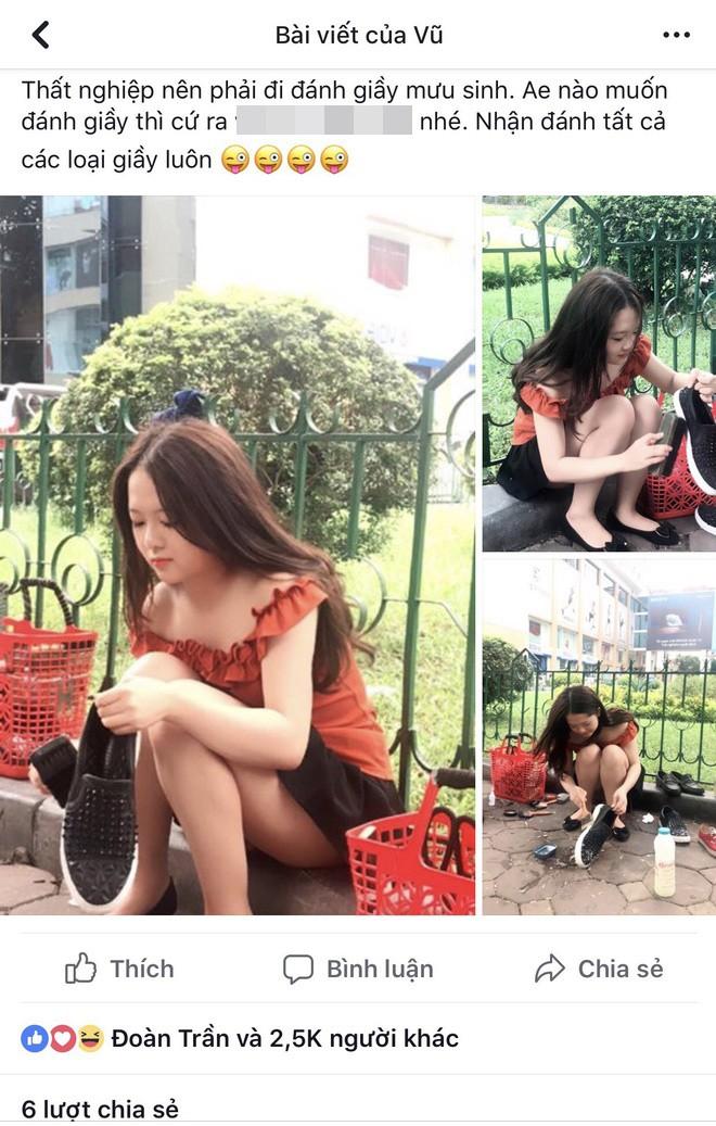 """Danh tính cô gái đánh giày trên vỉa hè bị dân mạng """"ném đá"""" vì nghĩ sống ảo, câu like - Ảnh 1."""
