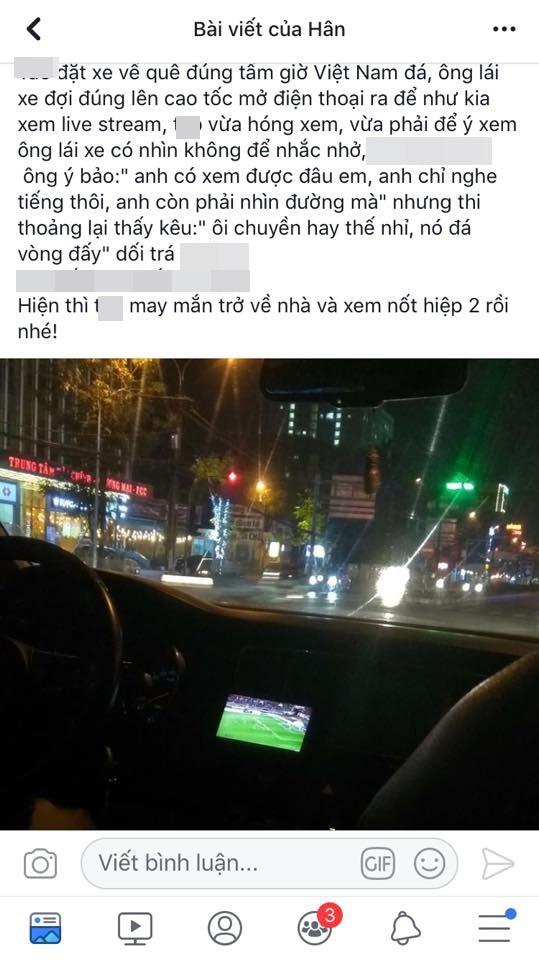 Vừa lái xe vừa xem trận Việt Nam - Malaysia, tài xế khiến cô gái như ngồi trên đống lửa vì những lời bình - Ảnh 1.