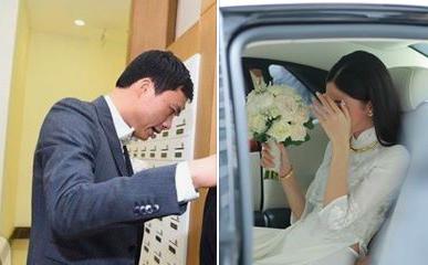 Chú rể đại gia, hơn 16 tuổi tới đón dâu, Á hậu Thanh Tú dùng hoa và tay che mặt tránh sự chú ý