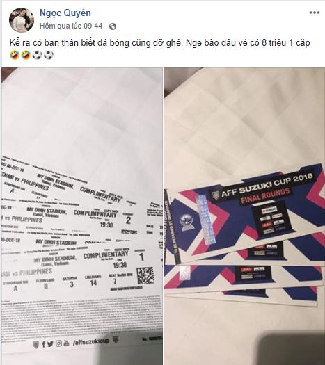Bạn gái vua dội bom ĐTVN hớn hở khoe cặp vé giá 8 triệu - Ảnh 1.