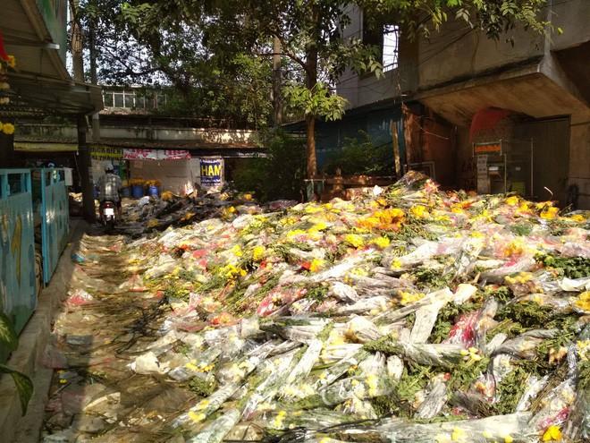 Hoa Tết đổ bỏ chất đống thành 'núi' tại chợ hoa lớn nhất Sài Gòn - Ảnh 3.