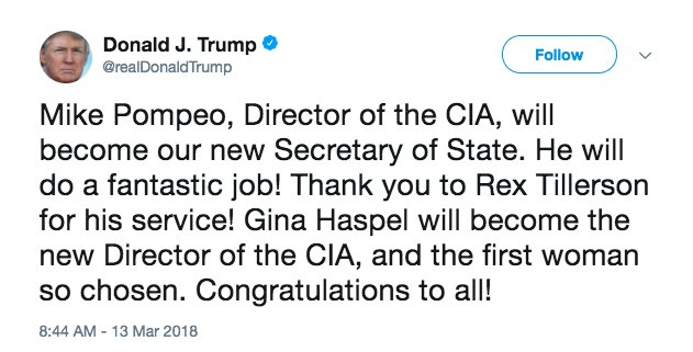 Ông Trump thông báo sa thải Ngoại trưởng Tillerson trên Twitter, thay thế bằng Giám đốc CIA - Ảnh 1.