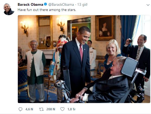 Barack Obama, Bill Gates và hàng loạt ông lớn công nghệ bày tỏ tiếc thương Stephen Hawking - Ảnh 1.