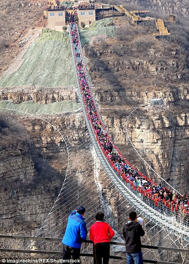 Cảnh tượng nhìn thôi đã bủn rủn chân tay: Cả trăm khách du lịch chen nhau trên cây cầu kính trong suốt dài nhất thế giới - Ảnh 2.