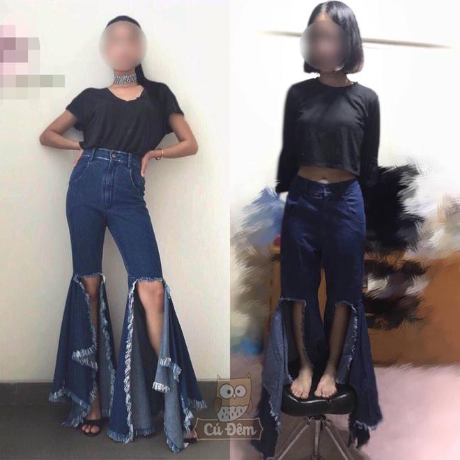 Order quần jean ống loe bắt trend trên mạng, cô gái diện vào rồi đứng lên cả ghế mới vừa  - Ảnh 1.