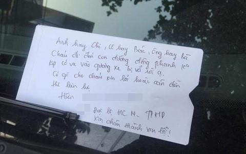 Mẩu giấy để sau va chạm giao thông khiến dân mạng tán thưởng - Ảnh 3.