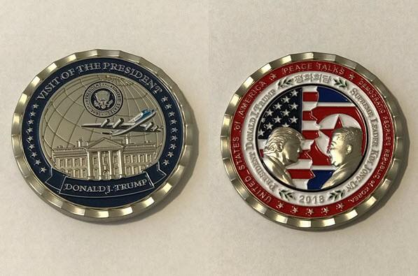 Nhà Trắng khắc họa ông Kim Jong Un hai cằm trên đồng xu kỉ niệm thượng đỉnh Mỹ - Triều - Ảnh 1.