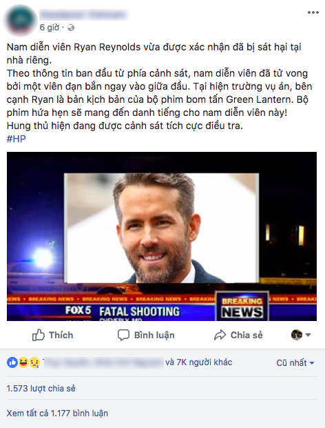 Sự thật về thông tin Deadpool Ryan Reynolds bị bắn chết lan truyền rầm rộ trên mạng - Ảnh 1.