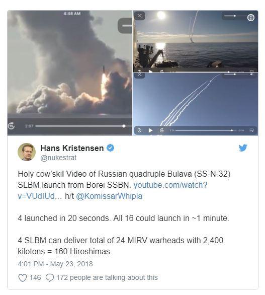 Chuyên gia Mỹ: 4 tên lửa Bulava Nga vừa phóng đi có sức hủy diệt gấp 160 lần bom Hiroshima - Ảnh 2.