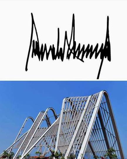 Dân mạng phát hiện sự trùng hợp thú vị giữa cổng chào khủng nhất Việt Nam và chữ kí ông Donald Trump - Ảnh 1.