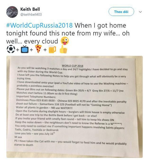 Cô vợ trong mơ mùa World Cup: Mang mèo dọn sang nhà chị ở, dặn chồng cách sống sót vô cùng chi tiết! - Ảnh 1.