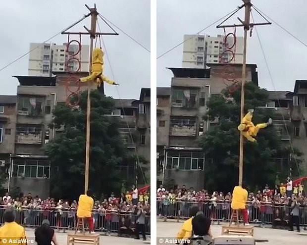 Đang nhào lộn ở độ cao 10m, Tôn Ngộ Không bất ngờ ngã xuống đất khiến nhiều người sợ hãi - Ảnh 2.