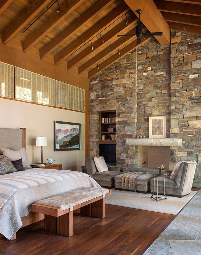17 kiểu phòng ngủ với tường đá và gạch thô đáp ứng mọi sở thích của người chuộng phong cách này - Ảnh 13.
