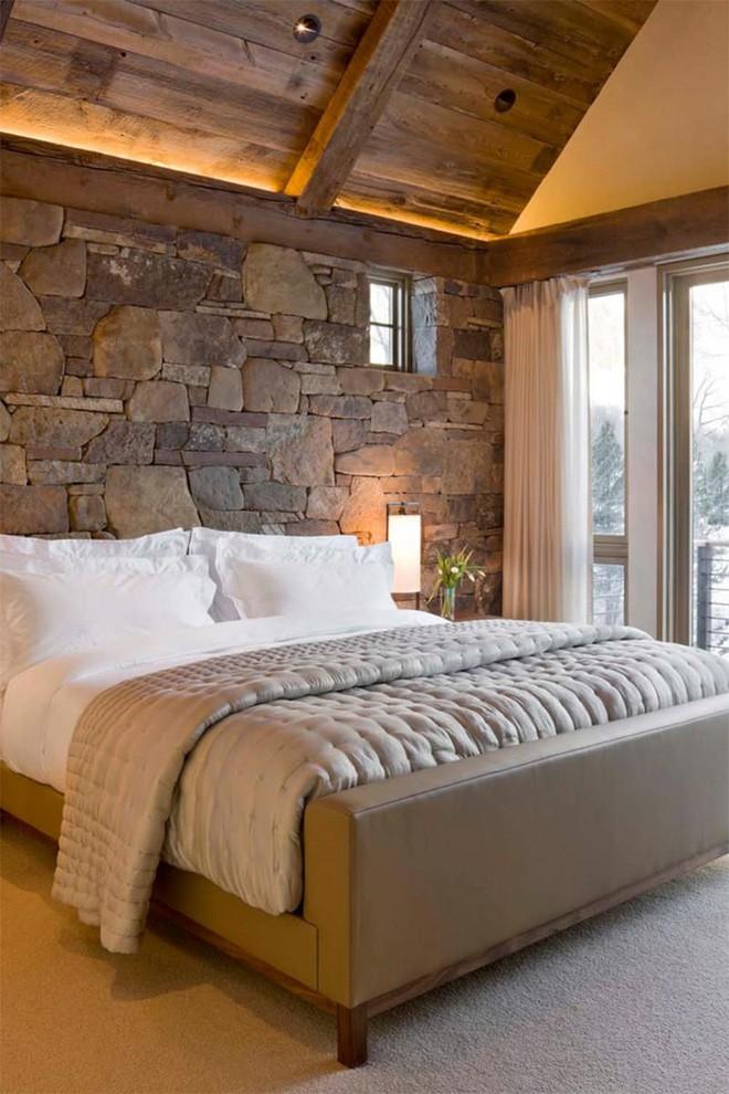 17 kiểu phòng ngủ với tường đá và gạch thô đáp ứng mọi sở thích của người chuộng phong cách này - Ảnh 3.