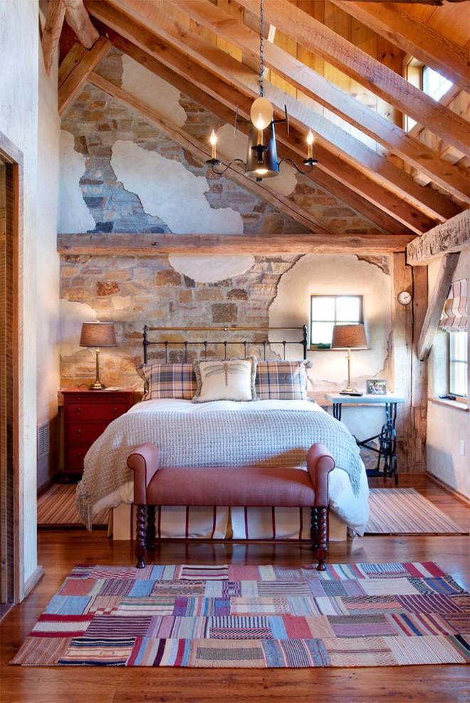 17 kiểu phòng ngủ với tường đá và gạch thô đáp ứng mọi sở thích của người chuộng phong cách này - Ảnh 8.