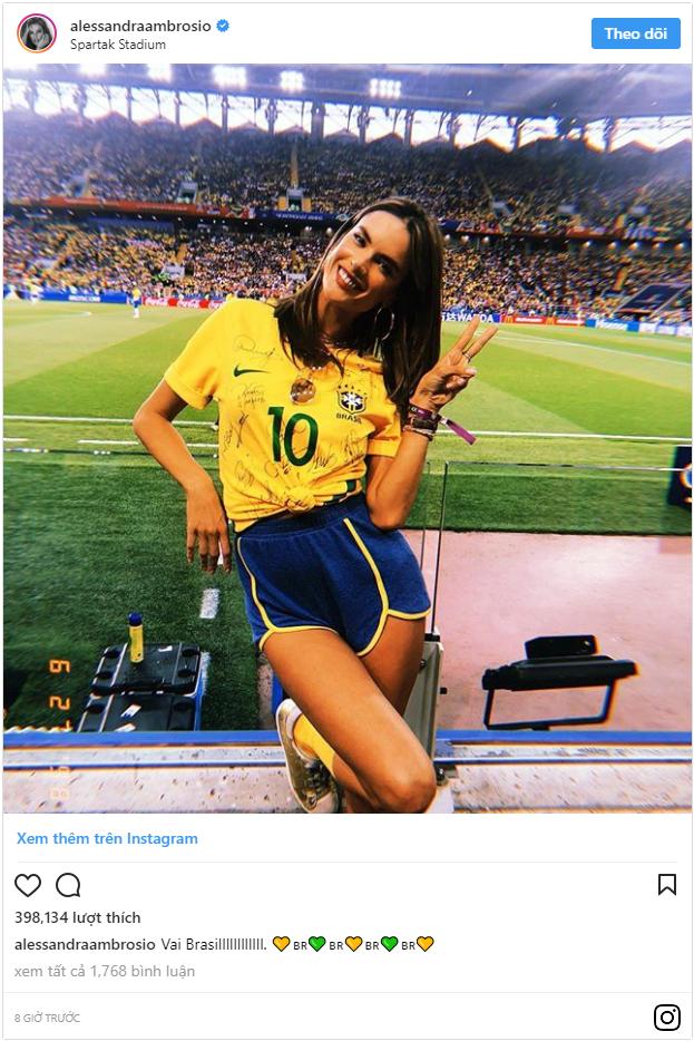 Siêu mẫu Brazil ăn mừng hết nấc trên khán đài, bỏ mặc bạn trai Đức suy sụp vì thảm bại - Ảnh 2.