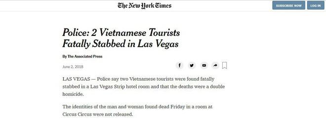 Nhiều báo nước ngoài đưa tin về vụ việc 2 người Việt Nam bị sát hại tại Mỹ  - Ảnh 1.