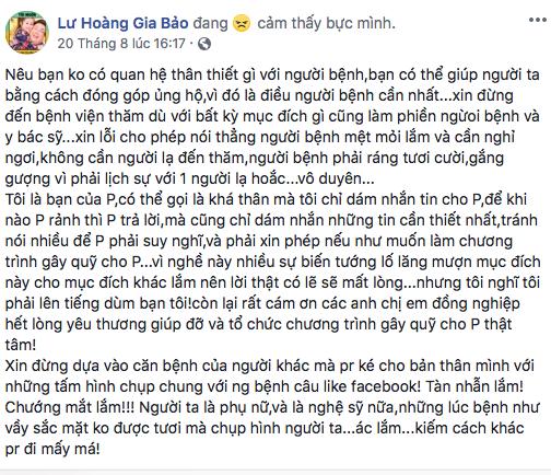 Gia Bảo, Tần Khánh bức xúc với hành động của một số lạ khi tới thăm Mai Phương - Ảnh 2.