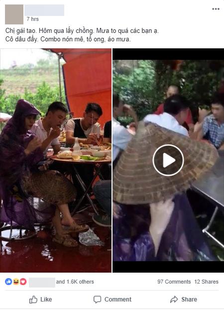 Cô dâu diện nguyên combo nón lá, dép tổ ong, áo mưa kín người trong ngày cưới khiến dân mạng bật cười - Ảnh 1.