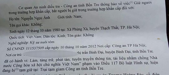 Bắt Nguyễn Ngọc Ánh vì chống phá nhà nước - Ảnh 2.