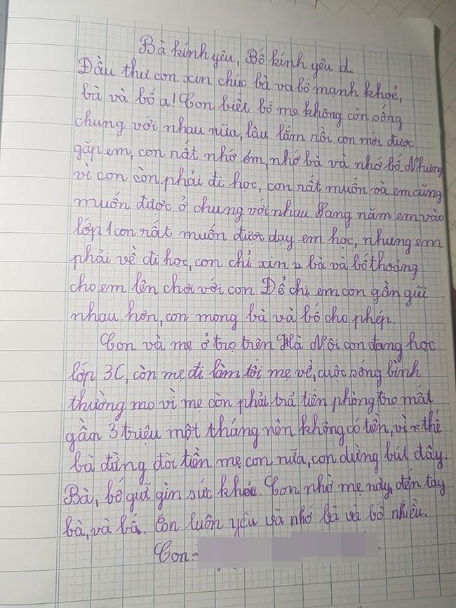 Ứa nước mắt với bức thư của bé gái lớp 3 gửi bố mẹ ly hôn: Con biết bố mẹ không còn sống chung với nhau nữa - Ảnh 1.