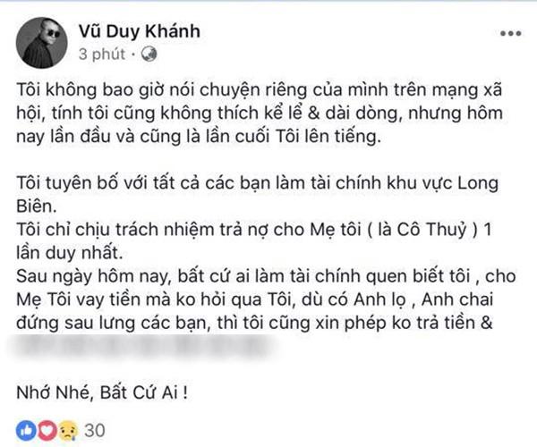 Vũ Duy Khánh: Tôi chỉ chịu trách nhiệm trả nợ cho mẹ tôi 1 lần duy nhất - Ảnh 1.