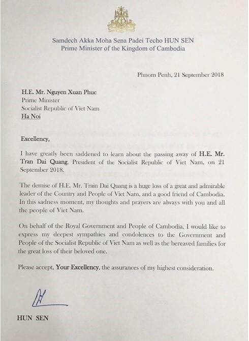 Thủ tướng Campuchia chia buồn Chủ tịch nước Trần Đại Quang từ trần - Ảnh 1.