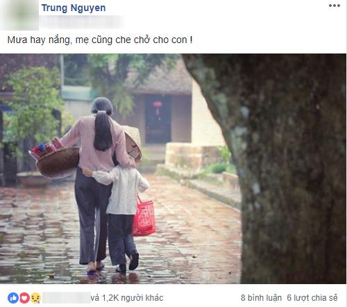 Mẹ bán hương dạo dùng nón lá che mưa cho con - bức ảnh giản dị nhưng mang sức mạnh to lớn, khiến dân mạng xúc động - Ảnh 1.