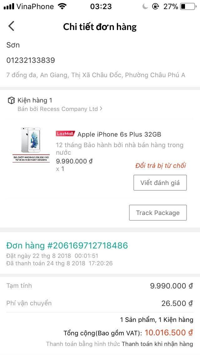 Khách hàng tố mua iPhone 6S Plus trên Lazada nhưng nhận được chiếc iPod rẻ tiền - Ảnh 1.