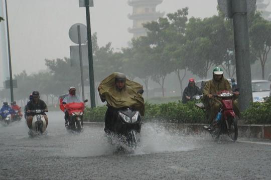 Mưa nhỏ cũng khiến đường vào sân bay Tân Sơn Nhất ngập lênh láng - Ảnh 3.