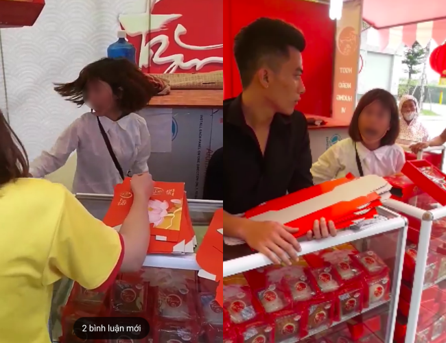 Xôn xao clip người phụ nữ chỉ mặt nhân viên bán hàng, quát mắng kịch liệt khi bị nghi ăn trộm ví tiền trong quầy bánh trung thu - Ảnh 1.