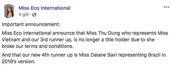 """Thư Dung tiếp tục bị tước thêm danh hiệu á hậu """"Miss Eco International"""" - Ảnh 1."""