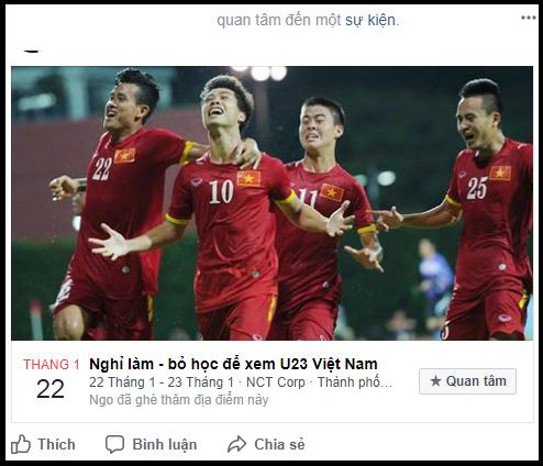 Lập sự kiện 'rủ rê xem U23 Việt Nam đá bán kết' đang là 'trend' của ngày hôm nay! - Ảnh 1.
