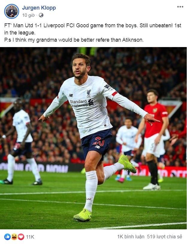 Liverpool hòa Man United 1-1: Bữa ăn toàn... cá và bà ngoại của Klopp - Ảnh 1.