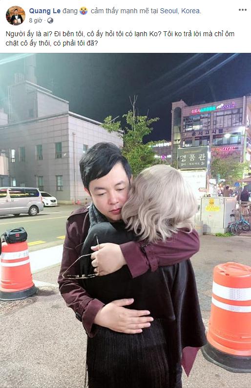 Sau bức ảnh hôn má vợ cũ Hồ Quang Hiếu, Quang Lê úp mở chuyện hẹn hò bằng hành động thân mật này - ảnh 1