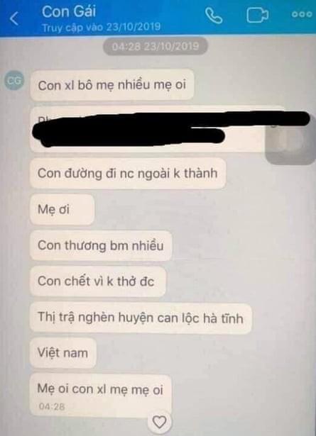 Tin nhắn cuối cùng của cô gái Việt nghi tử nạn trên xe tải ở Anh: Con chết vì không thở được. Con xin lỗi mẹ, mẹ ơi - Ảnh 1.
