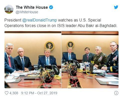 Nhà Trắng đăng ảnh ông Trump ngồi xem chiến dịch tiêu diệt thủ lĩnh IS - Ảnh 1.