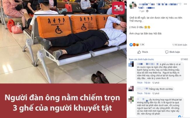Thanh niên đăng đàn tố hành khách một mình nằm chiếm 3 ghế của người khuyết tật ở sân bay, nào ngờ lại bị dân mạng mắng ngược - ảnh 1