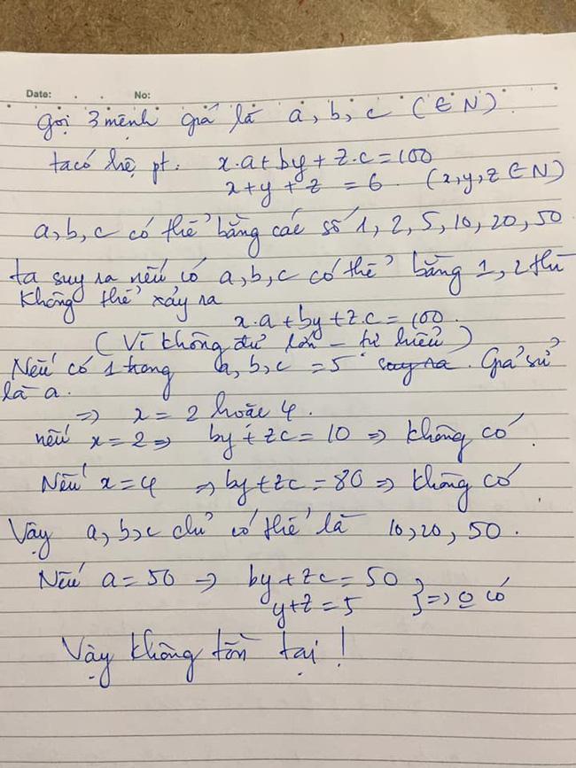 Bài toán Chọn 6 tờ tiền với 3 mệnh giá khác nhau sao cho tổng bằng 100k khiến dân mạng nát óc, nào ngờ đáp án quá đơn giản - Ảnh 3.