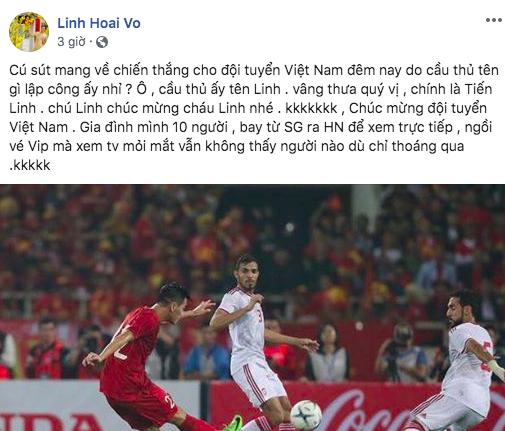 Hoài Linh chia sẻ hài hước, không giấu được niềm vui sau khi Việt Nam đại thắng UAE - ảnh 1