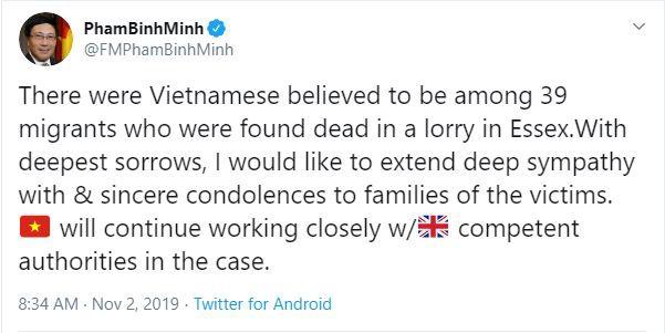 Trong số 39 nạn nhân ở Anh có người Việt Nam: Phó Thủ tướng Phạm Bình Minh gửi lời chia buồn tới gia đình các nạn nhân - Ảnh 1.