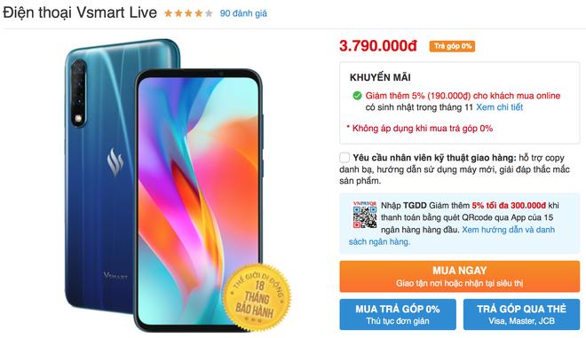 Vsmart Live giảm giá còn hơn 3 triệu: Vô đối phân khúc! - Ảnh 2.